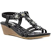 38f92399d214 Lilley Womens Black Flower T-Bar Wedge Sandal