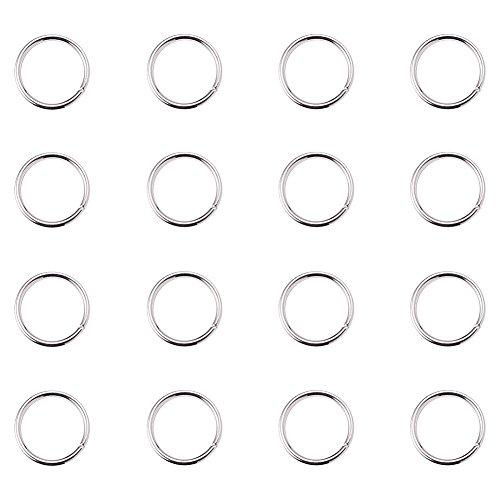 PandaHall Elite- 1 Sac/Environ 260pcs Laiton Anneau de jonction Argent Anneau Ouvert Jump Ring Ferme mais Dessoude Argent 10x1mm