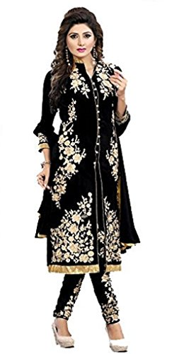 I-Brand Black Color Georgette Fabric Embroidery Salwar - suit(Semi-Stitched)( New Arrival Latest Best Design Beautiful Dresses Material Collection For Women and Girl Party wear Festival wear Special Function Events Wear In Low Price With High Demand Todays Special Offer and Deals with Fancy Designer and Bollywood Collection 2017 Punjabi Anarkali Chudidar Patialas Plazo pattern Suits )