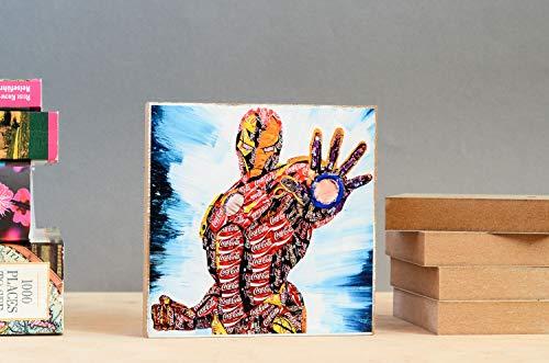 (Ironman Graffiti mit einem Gesicht handmade Holzbild Wandbild Holzdeko Holzdeko Dekoration Geschenk Mitbringsel Geschenkidee echter Fotodruck)