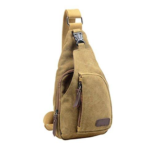 BZLine® Herren Outdoor Sport Casual Canvas Rucksack Crossbody Tasche Brust Umhängetasche Khaki