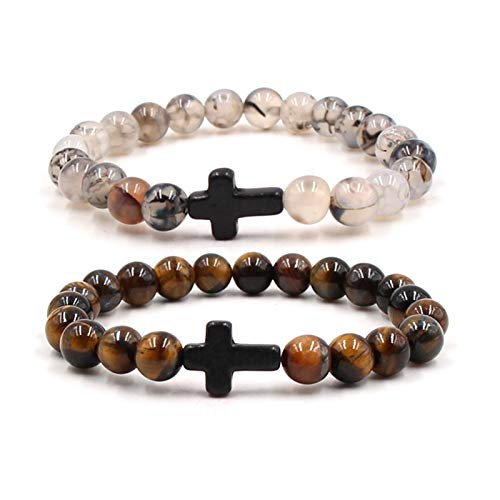 Blisfille Distance Couple Armbänder 8mm Perlen Armband Tigerauge Kreuz Rosa Schwarz Armbänder 2 St. (Versace Armband Männer)