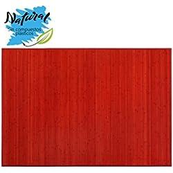 Alfombra de Bambú Natural, de Color Rojo, con Base Antideslizante, Ideal para Salón/Dormitorio, de 140cm X 200cm - Hogar y Más