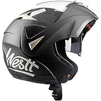 Westt® Torque · Casco da Moto Modulare Nero Opaco con Doppia Visiera · Omologato ECE