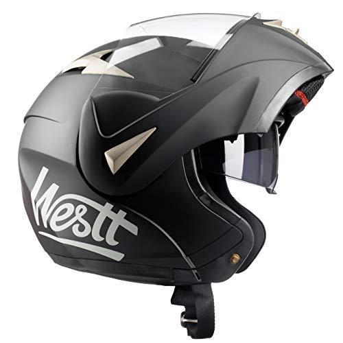 Westt® Torque · Casco Modular de Moto en Negro Mate con Doble Visor - ECE homologado