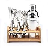 Chengyuejia Barman Shaker Kit Premium 12 Pièces Barre D'outils Set avec Support Élégant en Bambou, Inclure Professionnel Shaker Barman, Passoire, Jigger, Verseurs d'alcool Et Plus,350ml