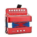 SMAA 10 Chiavi Mini Fisarmoniche Piccolo Pianoforte, Strumento Musicale per Bambini, educativi Ritmo Banda Giocattoli, per la Prima Infanzia di Sviluppo, Red