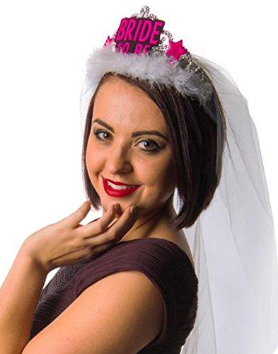 Party-Teufel Diadem Aufschrift Bride to Be mit 90cm Brautschleier Accessoire Junggesellenabschied