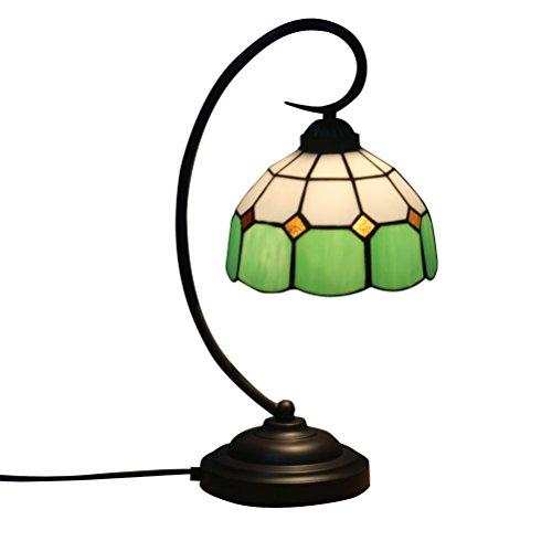 Fabakira Tiffany Stil Bar Lampe und Tischlampe E27 Glasmalerei Wohnzimmer Schlafzimmer Nachttischlampe Gelb Kunst Licht 20 * 47 cm (Grün) -