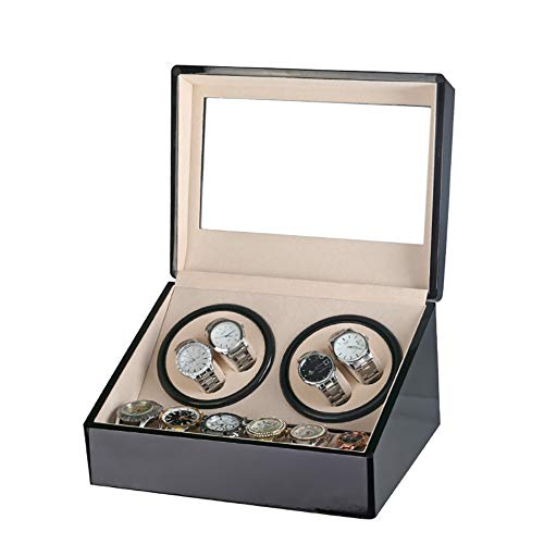 Felji 4 + 6 Automatische Rotation Leder Holz Watch Winder Storage Display Case Box Schwarz (Speicher Display Case Box)