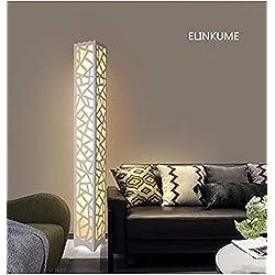 Moderne Lampe de Sol, ELINKUME LED Lampadaire Blanc Chaud PVC Bois Plaque en Plastique à Pédale Intérieur Éclairage Parfait pour la Maison, Salon, Chambre à Coucher AC200-240V