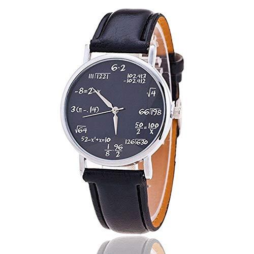 ZXMBIAO Reloj De Cuarzo De Cuero para Mujer Símbolos Matemáticos Reloj De Pulsera para Mujer, Negro A