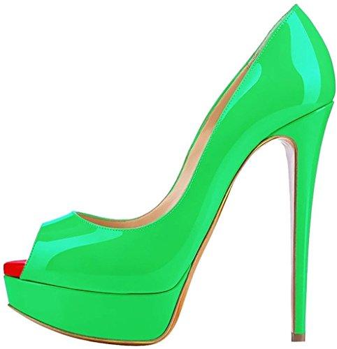 EDEFS Damenschuhe High Heels Plateau Pumps Peep Toe Stilettos Kleid-Partei Schuhe Green