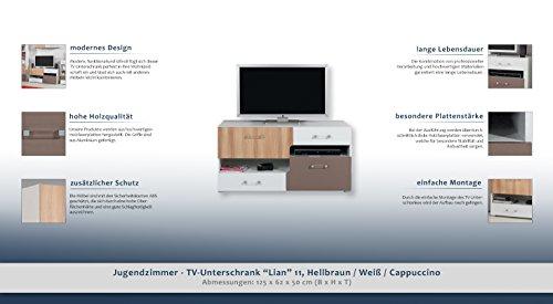 """Jugendzimmer – TV – Unterschrank """"Lian"""" 11, Hellbraun / Weiß / Cappuccino – Abmessungen: 125 x 62 x 50 cm (B x H x T) - 2"""