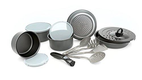 Set de poêles et casseroles avec poignée amovible - Set 14 Pièces Gris -Tous feux dont induction 3611431914025