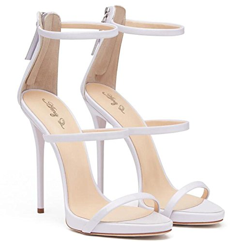 L@YC Frauen Sommer High Heels Helle Haut Offene Tasche Mit Sandalen Tanzkleid Kleid Pumpe White
