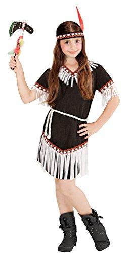 Karneval-Klamotten Indianer-in Kostüm Kinder Mädchen-Kostüm schwarz-weiß Karneval Kinderkostüm Kleid, Gürtel inkl. Stirnband Größe 140