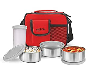 Milton Steel Combi Lunch Box with Tumbler, 4-Pieces, Red