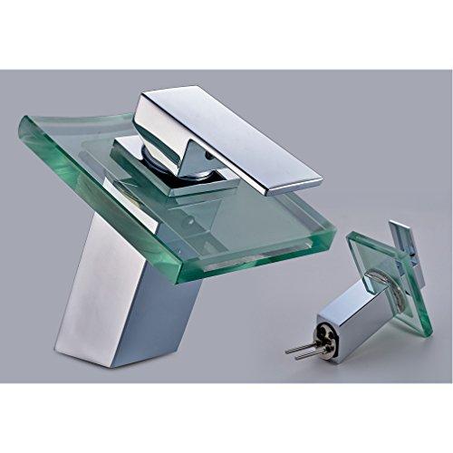 Auralum Wasserhahn Mit Chrom Glas RGB LED Licht Temperatur Waschtisch Wasserfall Armatur - 5