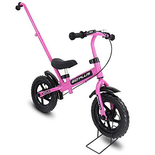"""COSTWAY 12\"""" Laufrad, Balance Fahrrad aus Stahl, Balance Bike ab 3Jahre, Kinderlaufrad Lauflernrad mit Schiebestange, Lernlaufrad 89 x 43 x 63cm (rosa)"""
