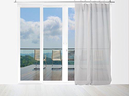 Tenda in voile di cotone conlaccetti 140x240 cm panama grigio
