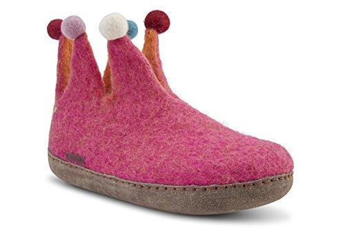 Betterfelt Handgefilzte Wollene Hausschuhe für Damen - Natürliche Wolle - Ledersohle - Große 41 - Pink - Fairtrade - Narr Filzstiefel