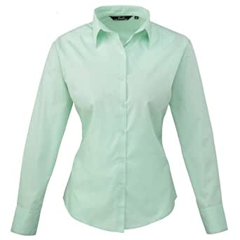Premier Womens/Ladies Poplin Long Sleeve Blouse / Plain Work Shirt (6) (Aqua)