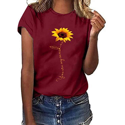 COZOCO 2019 Bluse Frauen Plus Size Sunflower Print Kurzarm T-Shirt Bluse Tops Oberteile Weinrot 3XL