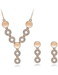 Silver Shoppee Ring Of Undying Love 18K Rose Gold Plated Cubic Zirconia Studded Alloy Pendant Set For Girls And...