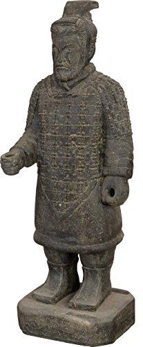 """Gartenfigur Chinesischer Soldat stehend Steinguss / Steinfigur Krieger \""""Terrakotta Armee\"""" Statue 100cm für Haus und Garten"""