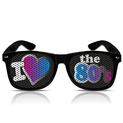 Lustige Partybrille Sonnenbrille 80er Jahre Style I love the 80´s Brille Hippie Verkleidung Sonnen Brille 80er (Nerd schwarz)