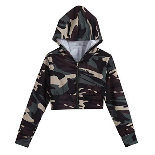 MIRRAY Damen Camouflage Print Shirt Langarm Bluse mit Kapuze Kurzer Pullover