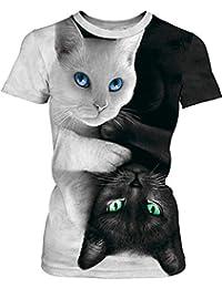 9018f4503 PANOZON Camiseta Mujer de Cuello Redondo y Manga Corta con Estampado de  Imágenes 3D de Animales