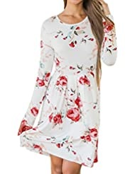 Reaso Femme Robe Tunique Casual Mini Dress Longue Manche Blouse Col Rond Fleur Imprimé Elegant Fete Soirée Robe Vintage Robe