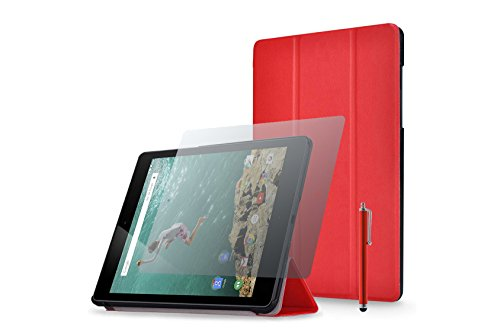 Smartcase / Schutzhülle / Tasche für Google Nexus 9 + Display-Schutzfolie + Stylus - Rot