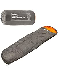 Milestone Camping Unisex Outdoor Mummy Sleeping Bag available in Dark Grey (Orange) - Size 210 X 75 cm