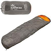 Milestone Camping   Unisex Outdoor Mummy Sleeping Bag available in Dark Grey (Orange) - Size 210 X 75 cm