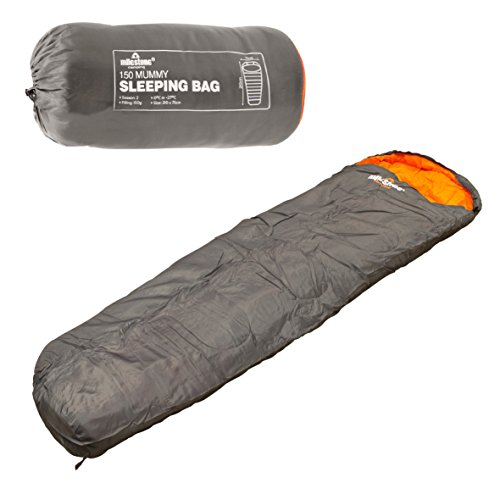 Milestone Camping Mumienschlafsack, Dark Grey (Orange)