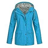 Jacke Damen,SANFASHION Frauen Feste Regenjacke Outdoor Kapuzenpullover Plus Wasserdichter Mantel Regenmantel mit Kapuze Windproof Outwear