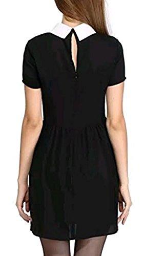Womens Ladies Short Sleeve Peter Pan Collar A Line Skirt Shift Mini Dress 8-14 (S/M (8-10 UK), Black)