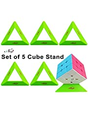 Negi Set of 5 Plastic Cube Stand for Puzzle Cube Speed Cube Holder_Only Cube Stand