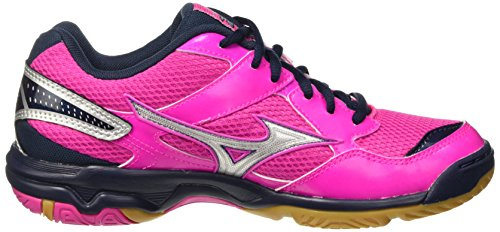 Mizuno Wave Twister Wos, Chaussures de Volleyball Femme Rose - Rosa (Electric/Silver/Dressblues)