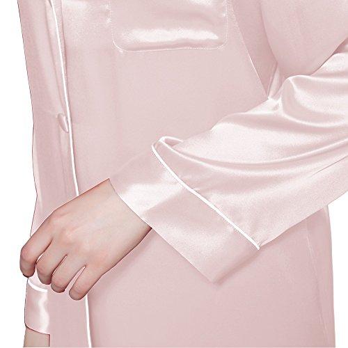 LILYSILK Chemise de Nuit Soie Femme Manches Longues Boutonné Mi-cuisse 22 Momme Rose Clair