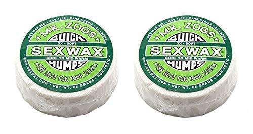 SexWax Quick Humps Cire pour planche de surf, 3X Soft - Green Twin Pack