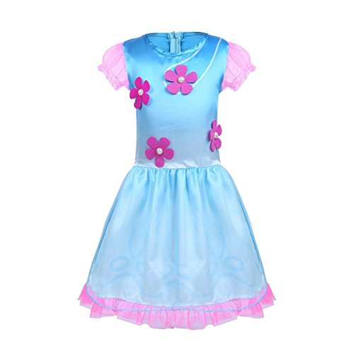 BT WILLING BT bereit Kids Trolle Poppy Princess Fancy Dress Outfit Halloween Cosplay Kostüme mit Perücke