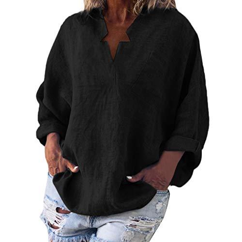 Übergröße aus Linen T-Shirt Tasche Lose Bluse für Damen/Dorical Mode Frauen Langarm V-Ausschnitt Tops Flügelhülse Lose Solid Oberteile Elegant Shirt S-XXL Ausverkauf(Schwarz,Medium)