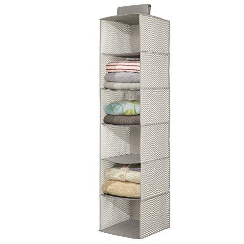 mdesign tela suave armario de almacenamiento, Jersey plataforma de almacenamiento Organizador - 6 estantes, Topo / Natural