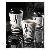 Thali Outlet Leeds - Ausgang–500x gewebt, Papier Wellpappe Cups schwarz + Deckel Einweg Thermosflasche für Tee Kaffee Cappuccino Heiße Getränke