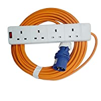 15m Caravan MarkUK® Hook Up Extension UK Main Socket 4 Way Cable Lead 13a to 16A 15 meter 48h courier 10