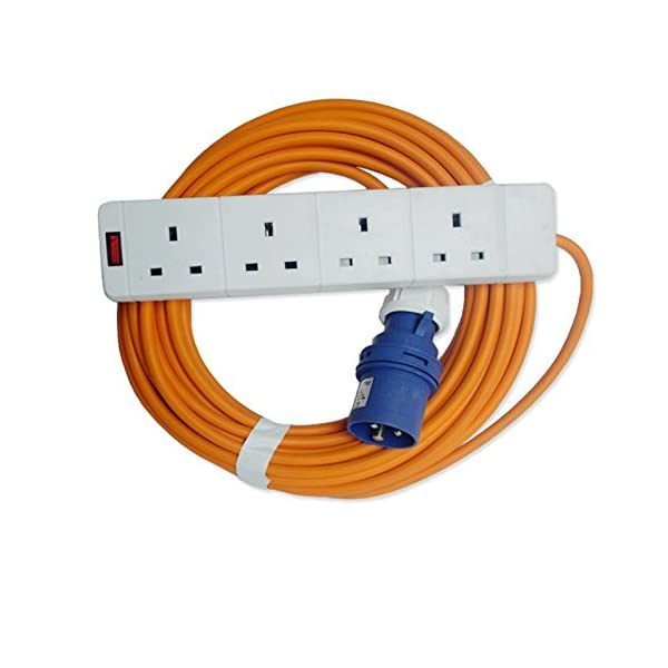 15m Caravan MarkUK® Hook Up Extension UK Main Socket 4 Way Cable Lead 13a to 16A 15 meter 48h courier 1